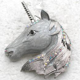 Wholesale Crystal Clear Wedding Brooch - Wholesale C783 F Clear AB Crystal Rhinestone Enameling Leader Unicorn Pin Brooch