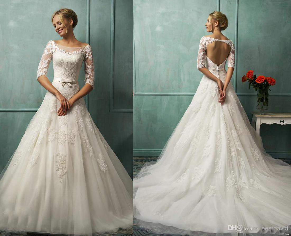 A Line Wedding Gown With Sleeves: Sheer Neck Lace Wedding Dresses Backless Keyhole Back Long