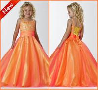 nueva línea de lentejuelas de lujo vestidos de novia al por mayor-Nuevos Pretty Orange Flower Girls 'Vestidos A-Line espaguetis acanalados granos de lujo lentejuelas con cordones de organza Girls desfile de vestidos para la boda