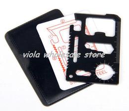 Canada 11 en 1 inoxydable Multi Emergency Survival Pocket carte outil de couteau de camping avec étui en cuir 1000pcs / lot livraison gratuite Offre