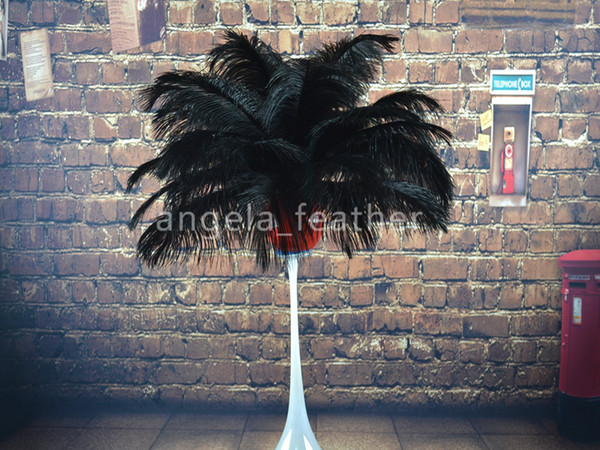Wholesale 100pcs a lot 14-16inch Black Ostrich Feather Plume for Wedding centerpiece table Home Decoration