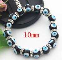 ingrosso gioielli male blu occhio-Gioielli popolari Black Murano Glass Murano Glass Evil Eye Bead Jewelry 10mm