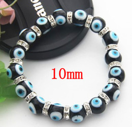 $enCountryForm.capitalKeyWord Canada - Popular Jewelry Black & Blue Lampwork Murano Glass Evil Eye Bead Bracelet Jewelry 10mm