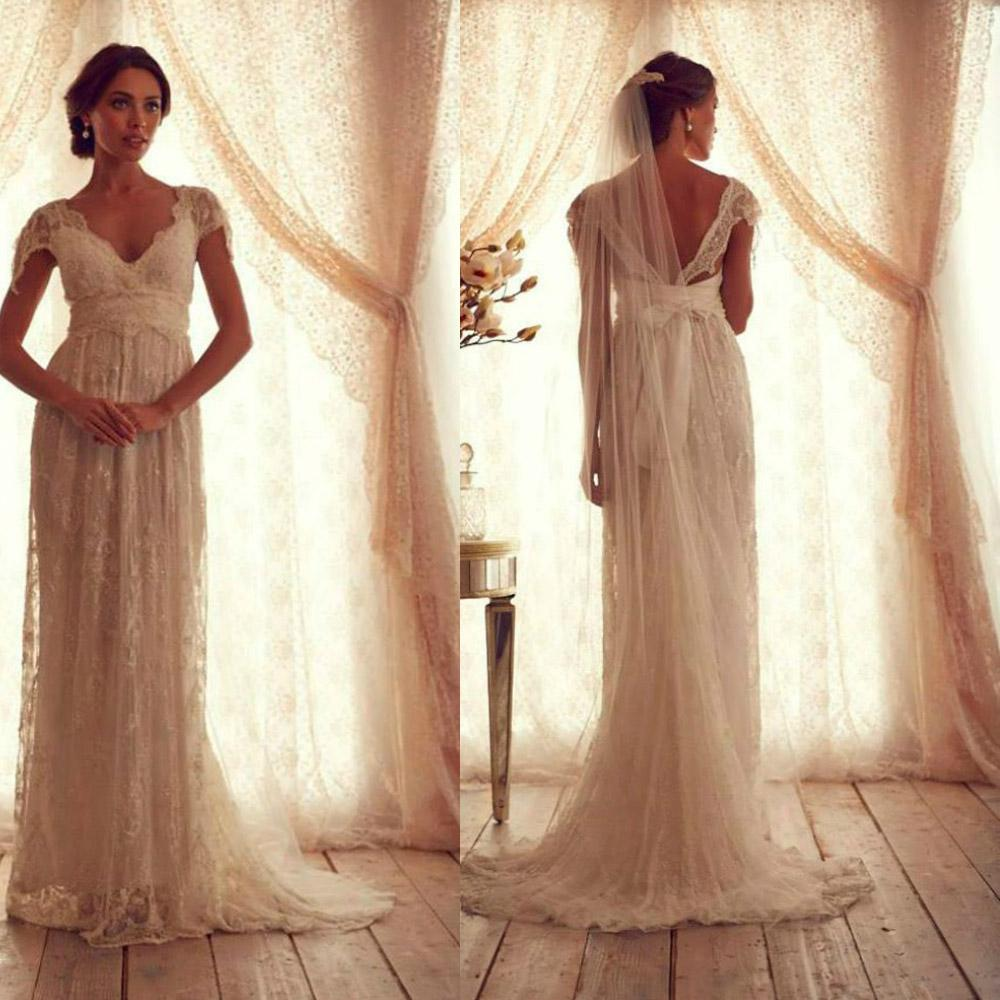 Discount Vintage Wedding Dresses Sheer Strap Wedding Gown Cap