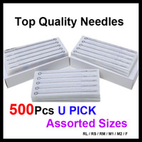 Wholesale Disposable Tattoo Needle - 500pcs Disposable Sterile Tattoo Needles Assorted Mixed Sizes Made by 316 Stainless Steel For Tattoo Gun Kits Ink Grip Tattoo Supplies
