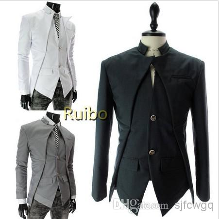 White/Grey/Black Slim Fit Men'S Fashion Blazer Innovative Two ...