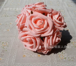 Wholesale Simulation Artificial Flower Camellia Rose - Wholesale - WHITE 100pcs Dia.7cm Artificial Simulation PE Foam EVA Camellia Rose Wedding Christmas Bridal Flower
