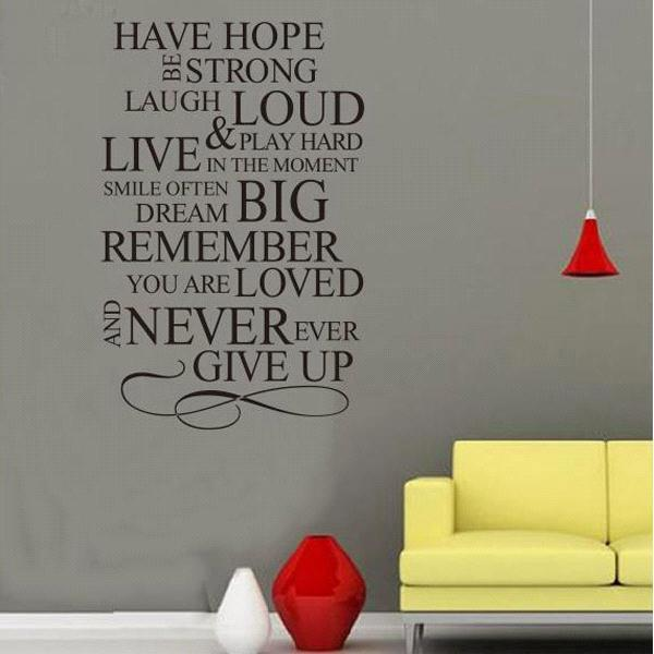 S5q have hope never give up quote vinyl decal removable wall home decor art sticker aaabps baby room wall decals baby room wall stickers from b2crovine