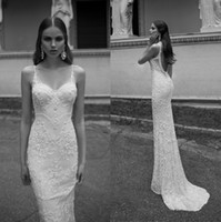 Wholesale Champagne Accented Wedding Dresses - Sexy Spaghetti Straps Backless Sheath Wedding Dresses With Applique Beads Accent Vintage Berta Bridal Church Vintage Lace Bridal Gowns