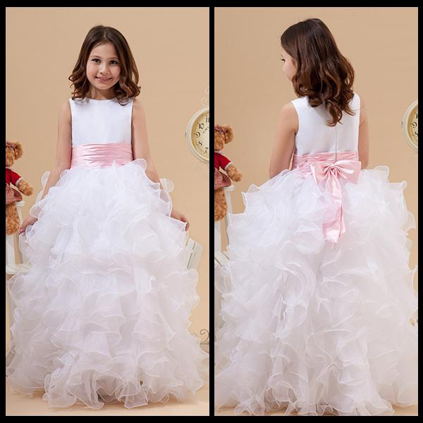 best selling 2020 Princess White Jewel Neck Flower Girl Dresses Ruffles A Line Satin and Organza Cheap Girl Dress for Wedding Party Gowns With Pink Bow