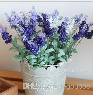 Venda por atacado - - 10PCS Lavender Bush Bouquet Simulação De Seda De Flor Artificial De Lilás Roxo Branco De Casamento / Home