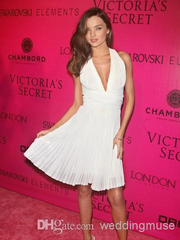 Miranda Kerr bir çizgi Haltel V boyun Pileli Kısa Kısa şifon Yeni Model Ünlü Red Carpet Kokteyl Parti Elbise DL1310146