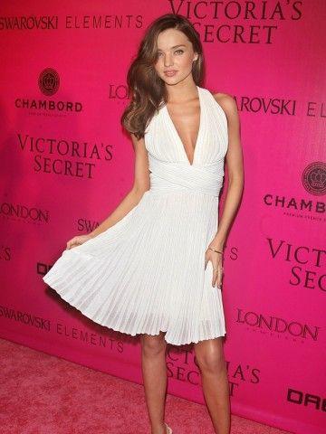 Miranda Kerr Una línea Haltel V cuello corto plisado mini gasa del modelo nuevo de la celebridad de la alfombra roja del cóctel vestido DL1310146