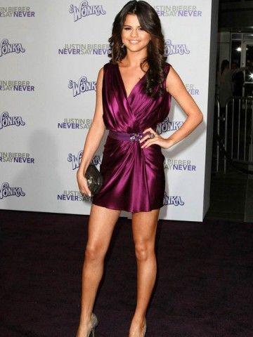Selena Gomez Sheath V neck Ruffles Crystal Sash Grape Stretch Satin New Model Celebrity Red Carpet Cocktail Party Dress DL10149