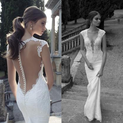 top popular New Berta Winter 2019 Lace Wedding Dresses With Deep V Neck Sheer Illusion Back Sheath Sweep Train Covered Button Custom White Bridal Gowns 2019