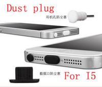 étui anti-poussière pour écouteurs iphone achat en gros de-Vente en gros - 5000 ensembles pour Iphone5 Silicone 8pin Dust Preuve Plug Dock Cover + Casque Jack pour iPhone 5 5G
