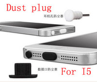 Vente en gros - 5000sets pour Iphone5 Silicone 8pin Dust Proof Plug Dock Cover + casque Jack écouteur pour iPhone 5 5G