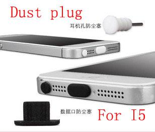 Wholesale - 5000sets for Iphone5 Silicone 8pin Dust Proof Plug Dock Cover + Earphone Jack Cap for iPhone 5 5G