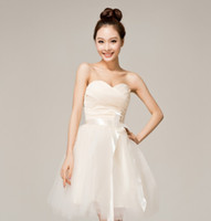 Wholesale Inexpensive White Sweetheart Prom Dress - High quality and inexpensive Simple Strapless Ribbon Satin and Organza short Prom dress Bridesmaid Dress