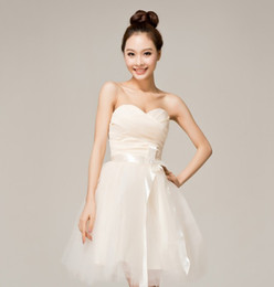 Wholesale Inexpensive Bridesmaids Dresses Custom - High quality and inexpensive Simple Strapless Ribbon Satin and Organza short Prom dress Bridesmaid Dress