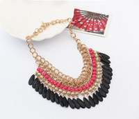 Wholesale Crystal Bib Necklace Wholesale - Bohemia Womne Multi layers Gem Acrylic Droplets Tassel Necklaces Bib Choker Jewelry Gold Chunky Chain SF