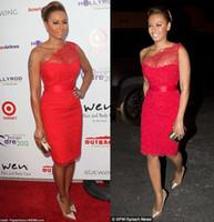 un hombro de encaje rojo al por mayor-Celebrity Red Carpet Dresses un hombro hasta la rodilla Longitud de la rodilla Sexy Red Lace Vestidos de noche formales Vestidos de baile