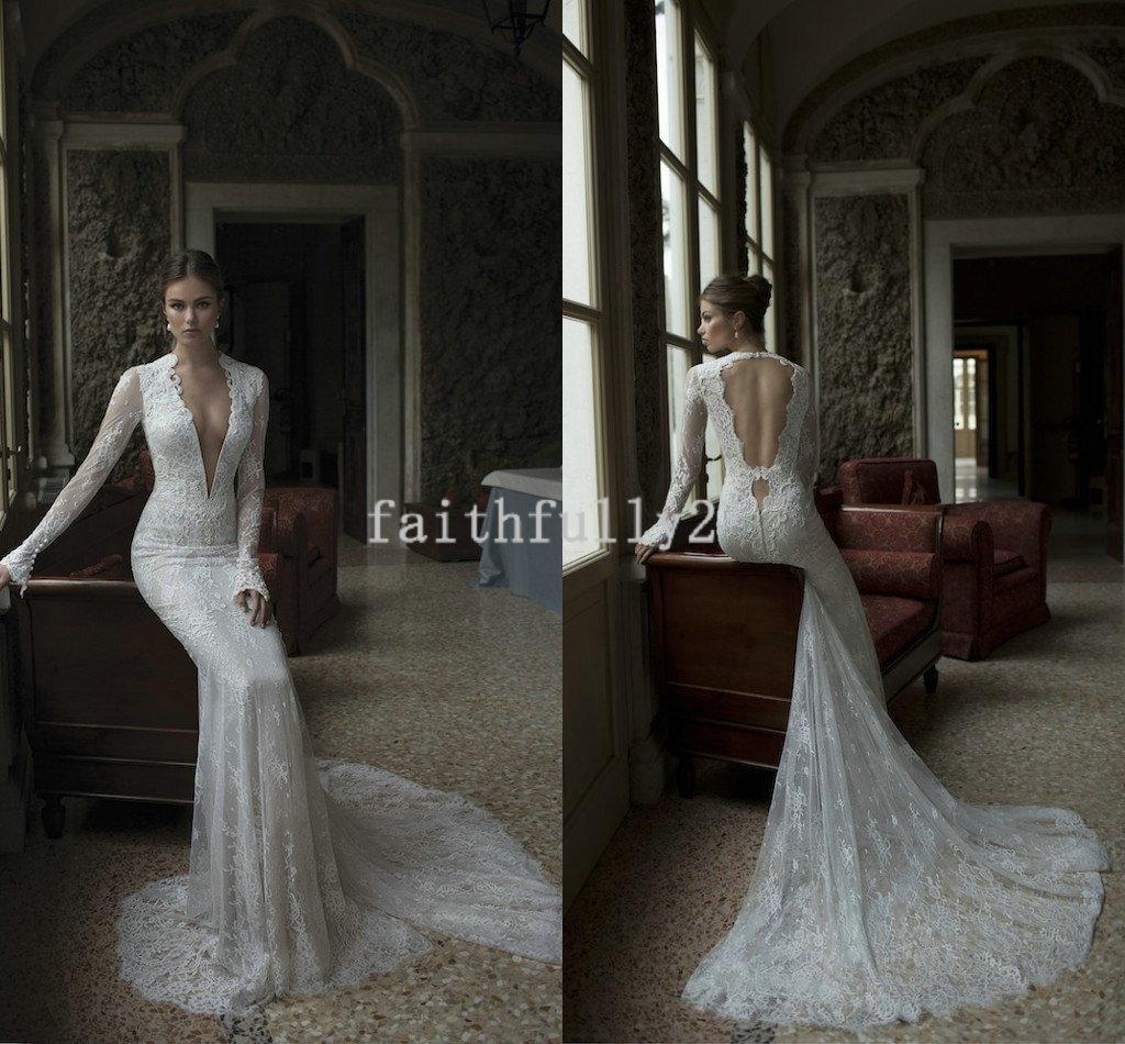 Drop Sleeve Wedding Gowns With: Sexy Berta Winter 2014 Wedding Dresses Drop Back Deep V