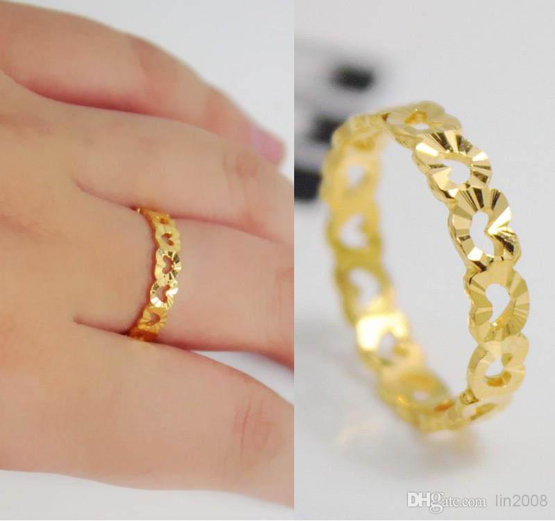 24k Gold Filled Ring Finger Ring Hollow Out Hearts Love The Bride Married Womens Sand Fashion Wedding Jewelry Gold Platd Rings Pearl Rings Rings For Men From Lin2008 7 45 Dhgate Com