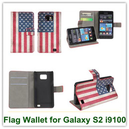 Wholesale S2 Pouch Case - Retro USA UK National Flag Wallet Case Smart Covers for Samsung Galaxy SII Leather Pouch for Galaxy S2 i9100 Free Shipping