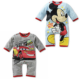 Wholesale Mcqueen Baby Clothes - New Hot Romper Baby Girls Boys Jumpsuits Toddlers Outfit Lightning McQueen Cars Cartoon Bodysuit Coverall Clothes Cotton Size 0-2.5y F21