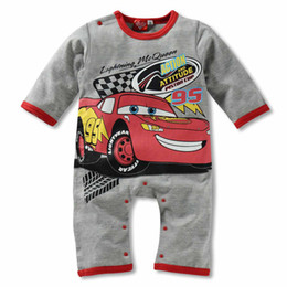 Wholesale Unisex Baby Coverall - Hot Jumpsuit! Lightning McQueen Cars Romper Cute Boy Girl Baby Clothes Four Colour Coverall Cotton Outfit One-Pieces 0-2.5y F22