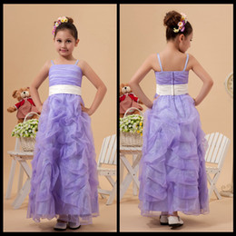 Wholesale Ankle Length Organza Communion Dress - Custom Made Spaghetti Straps Lilac Ruffles Tulle Ankle Length Flower Girl Dresses For Wedding Party Gowns With Ivory Satin Sash