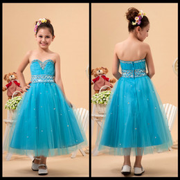 Wholesale Blue Strapless Flower Girl Dresses - Cute Sweetheart Strapless Ruched Sky Blue Tulle Ankle Length Flower Girl Dresses With Beading