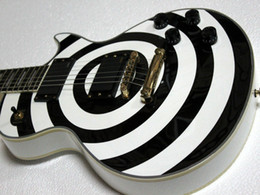 Wholesale Black Les Guitar - Custom Shop ZakWylde Electric Guitar Les Black and white Free shipping