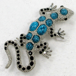 Wholesale Turquoise Pins - 12pcs lot Wholesale Crystal Rhinestone Gecko Brooches Faux Turquoise Lizard Fashion Costume Pin Brooch C616