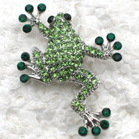Wholesale apparel china for sale - Group buy Crystal Rhinestone Frog Brooches Fashion Costume Pin Brooch Jewelry gift Apparel Accessories C559