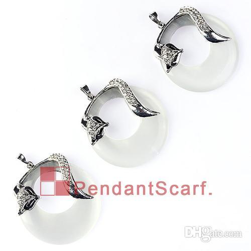 New Fashion DIY Jewelry Necklace Scarf Accessories Elegant Rhinestone Fox Design Round Opal Charm Pendant, AC0256