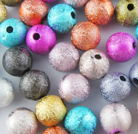 Wholesale Wholesale Stardust Beads 6mm - Hot ! 4mm 6mm 8mm 10mm 12mm Mixed Stardust Acrylic Round Ball Spacer Beads Charms (b291)