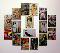 Wholesale Tin Wall Art Wholesale - 20*30CM 5 pcs a lot Tin Sign Coffee Shop or Bar and Restaurant Sexy Lady Vintage Tin signs Wall Art decoration Bar Metal Paintings Tin Sign