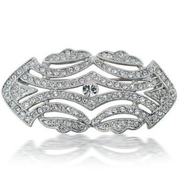 Wholesale Diamante Dresses - White Gold Tone Czech Rhinestone Crystal Diamante Party Flower Wedding Dress Accessory Brooch Pins