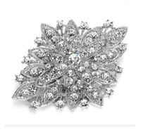 Wholesale Clear Rhinestone Crystal Vintage Diamante - Vintage Look Rhodium Silver Plated Clear Rhinestone Crystal Diamante Bouquet Brooch Pin Prom Party Pins