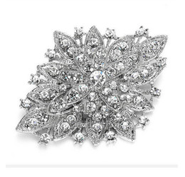 Wholesale brooch bouquet wholesale - Vintage Look Rhodium Silver Plated Clear Rhinestone Crystal Diamante Bouquet Brooch Pin Prom Party Pins