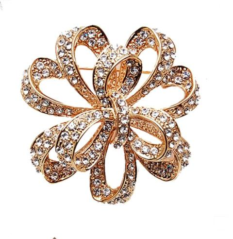 Rose Gold Plated Cz Crystal Large Flower Diamante Party Brooch Prom Jewelry Gift
