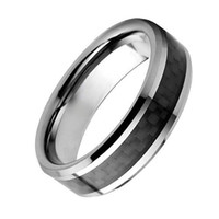 Wholesale Silver Ladies Ring Bands - S5Q 8MM Tungsten Carbide Carbon Fiber Unisex Wedding Band Ring Mens Ladies Gift AAAALI