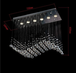 Wholesale living room curtains sale - promotion sales most popular style curtain wave 6 lights L750*W300*h650mm contemporary crystal chandelier MYY8342
