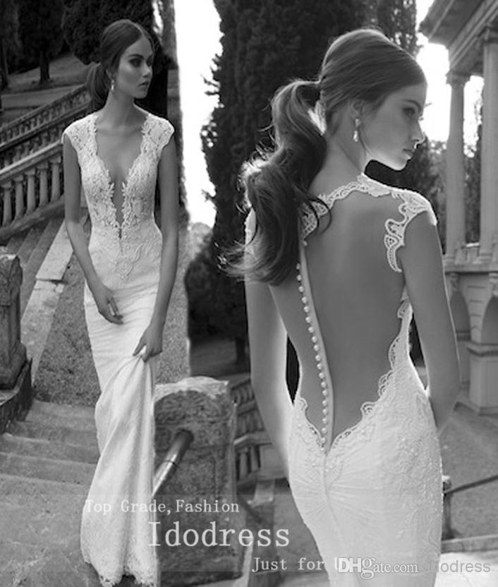 Amazing backless lace wedding dresses mermaid deep v neck appique amazing backless lace wedding dresses mermaid deep v neck appique pearls satin cap sleeves bridal yk8r380 junglespirit Choice Image