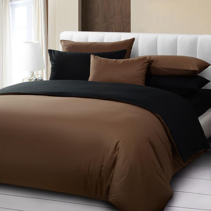 Hot sale solid color duvet cover set king size brown and for Housse de couette king size