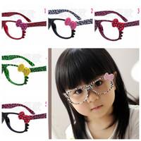 Wholesale Cool Nerd Glasses - 10colors Fashion Kids Leopard Sunglasses Frames Retro Kitty Cat Dots Bow no Lens Frame Cool Nerd Geek Glasses 10Colors