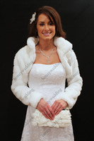 Long Sleeve black fur stole - 2014 Hot Sales White Ivory Long Sleeve Faux Fur Bridal Wrap Bolero Stole Evening Winter Wedding Prom Coats Capes DH7236