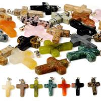 Wholesale Handmade Stone Pendants - Fashion Jewelry Mix 50pcs natural stone handmade 25*20mm cross pendant Charms Bead Necklace Pendants Free Shipping[N13*50]